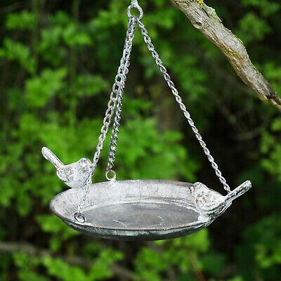 Rustic Hanging Bird Bath Wild Garden Birds Feeder Steel