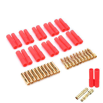 10pack HXT 4mm bullet banana plugs with red housing for RC