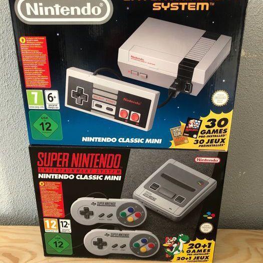 Nintendo mini SNES original and mini NES