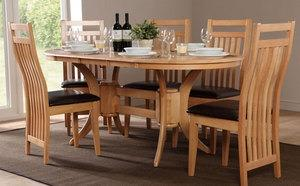 Townhouse & Bali Extending Oak Dining Table and 6 Chairs Set