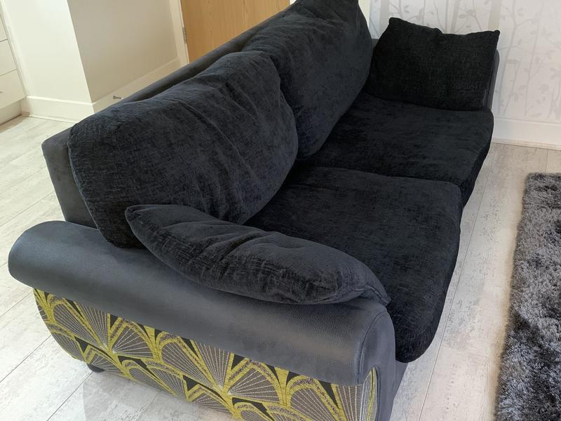 Black 3 Seater Sofa with Green Detail in used but good