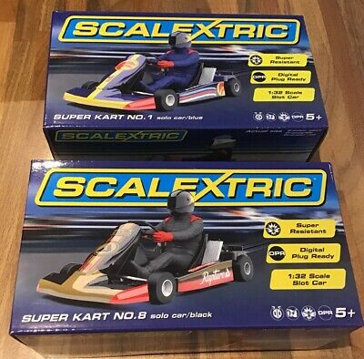 Scalextric: Super Kart No's. 1 & 8 BLUE / BLACK