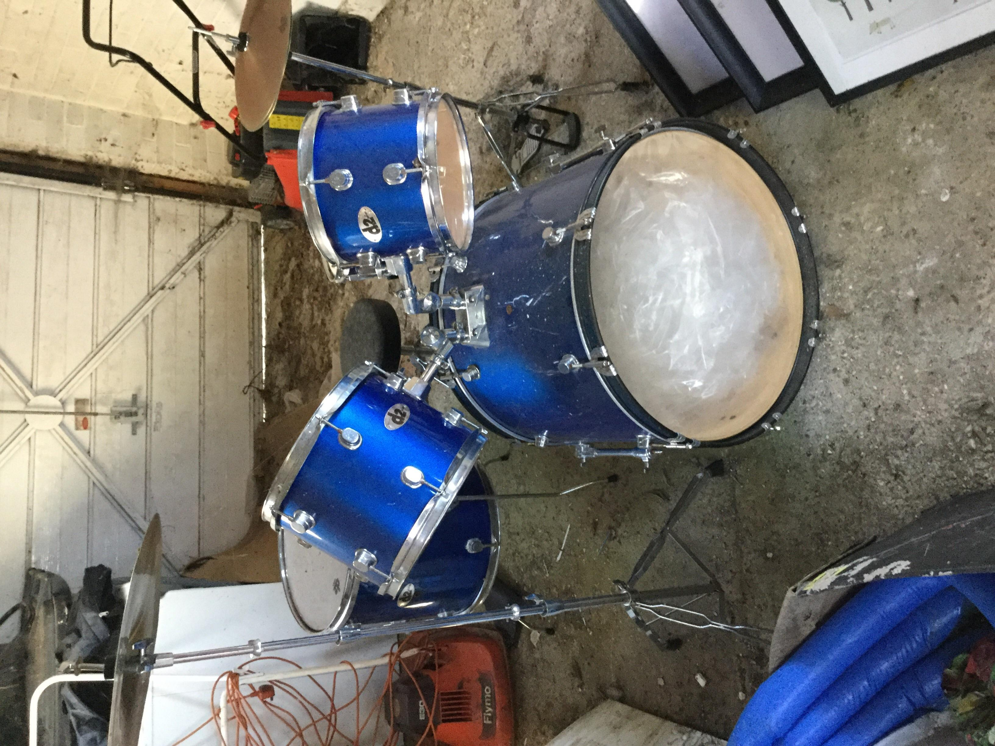 Drum kit with sticks and music