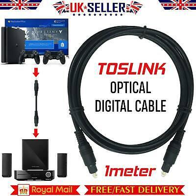 1m SHORT TOSlink Optical Digital Cable 4mm Audio Lead Tv