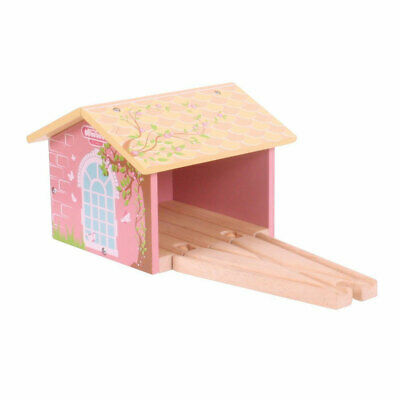 Bigjigs Wooden Railway Pink Double Engine Shed