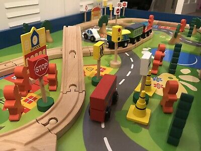 Chad Valley Wooden Table and 90 Piece Train Set –