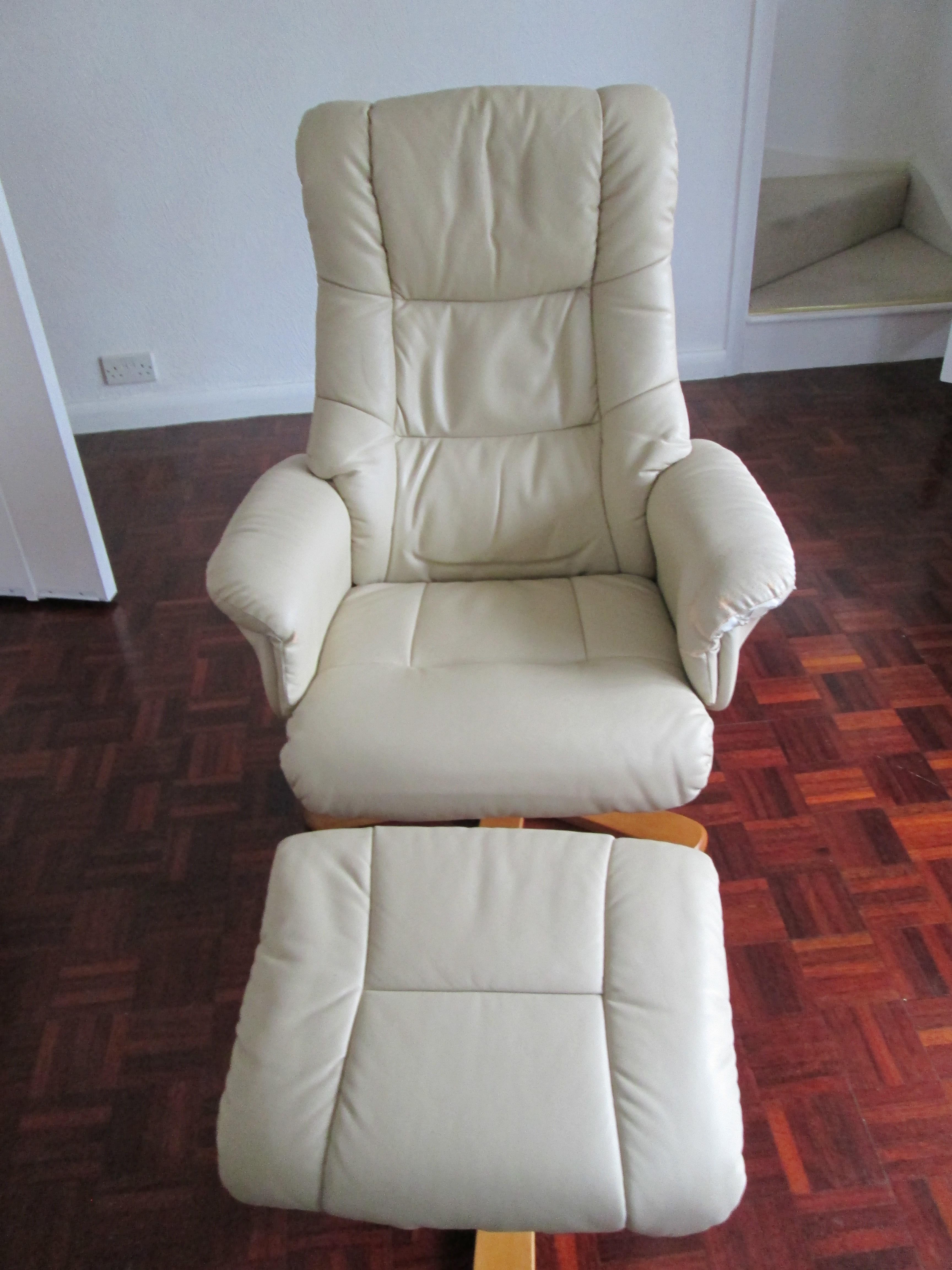 Faux Leather Armchair and Stool in Cream