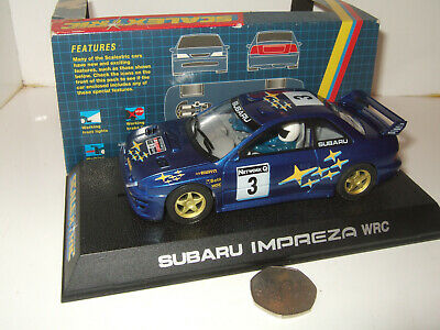 Scalextric C. Subaru Impreza WRC Slot with Car lights,