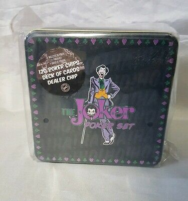 The Joker Poker Set Chips And Cards In Storage Tin Amazing
