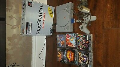 Sony PlayStation 1 ps1 with gamez Dual Shock Bundle Grey