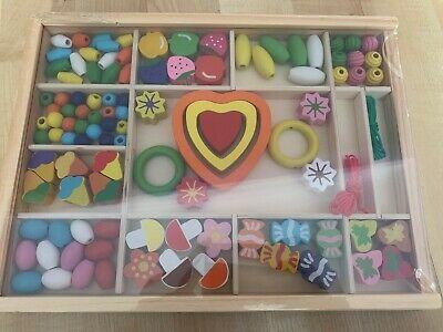 KIDS HEART & FLOWERS WOODEN BEAD SET NEW & SEALED