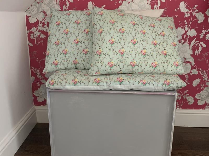 Up cycled storage toy box with cushions