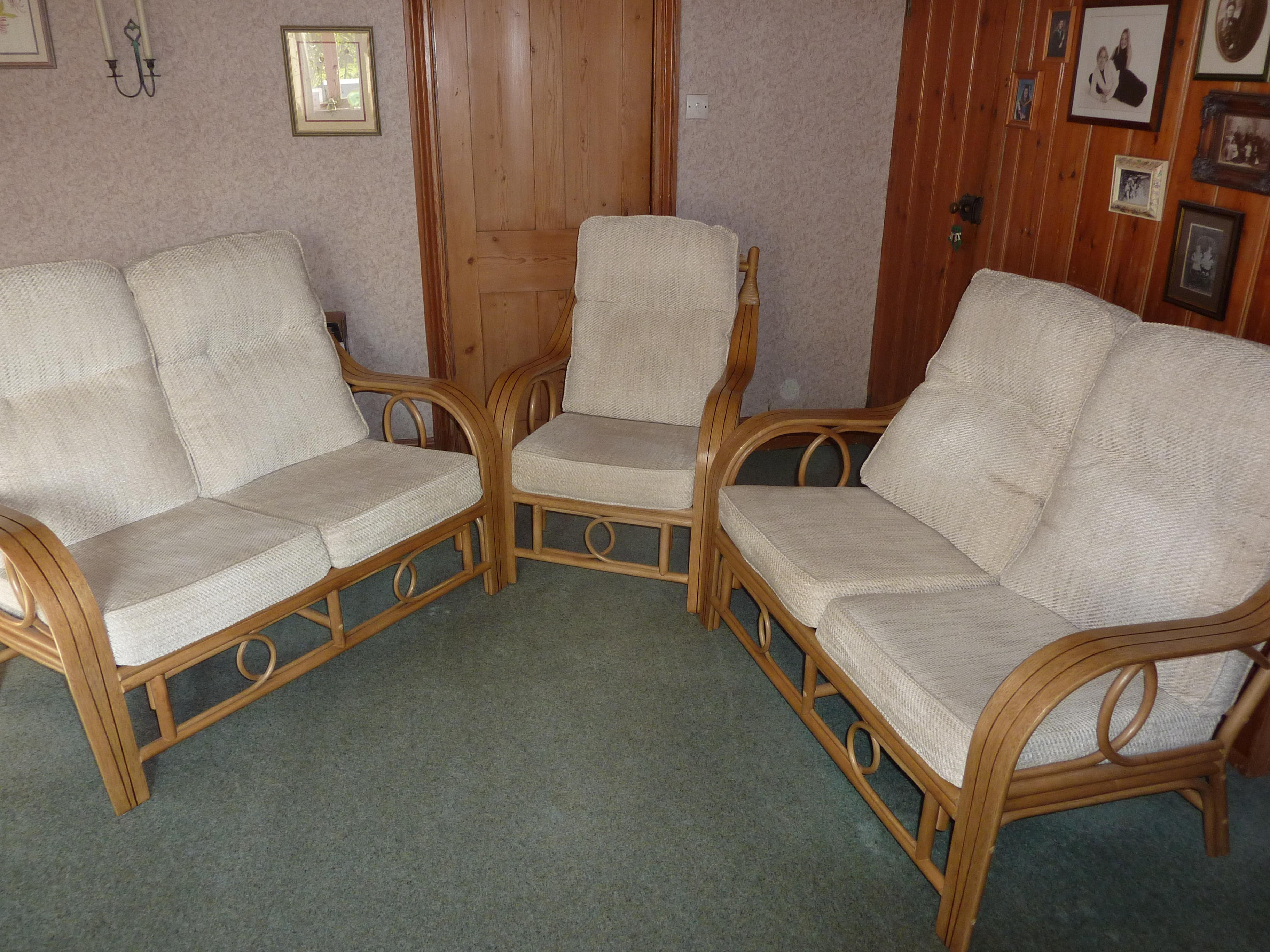Cane sofas and chair
