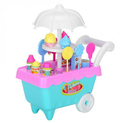 19Pcs Set Ice Cream Trolley Cart Plastic Pretend Play Food