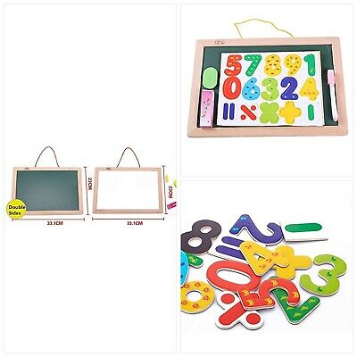 FunnyGoo Kids Children's Wooden Wall Drawing Board Double