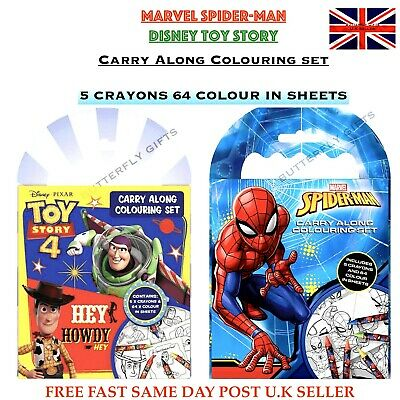 Marvel Spiderman Toy Story 4 Carry Along Colouring Pad Party