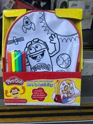 Play Doh Kids Colour Your Own Backpack School Rucksack. New