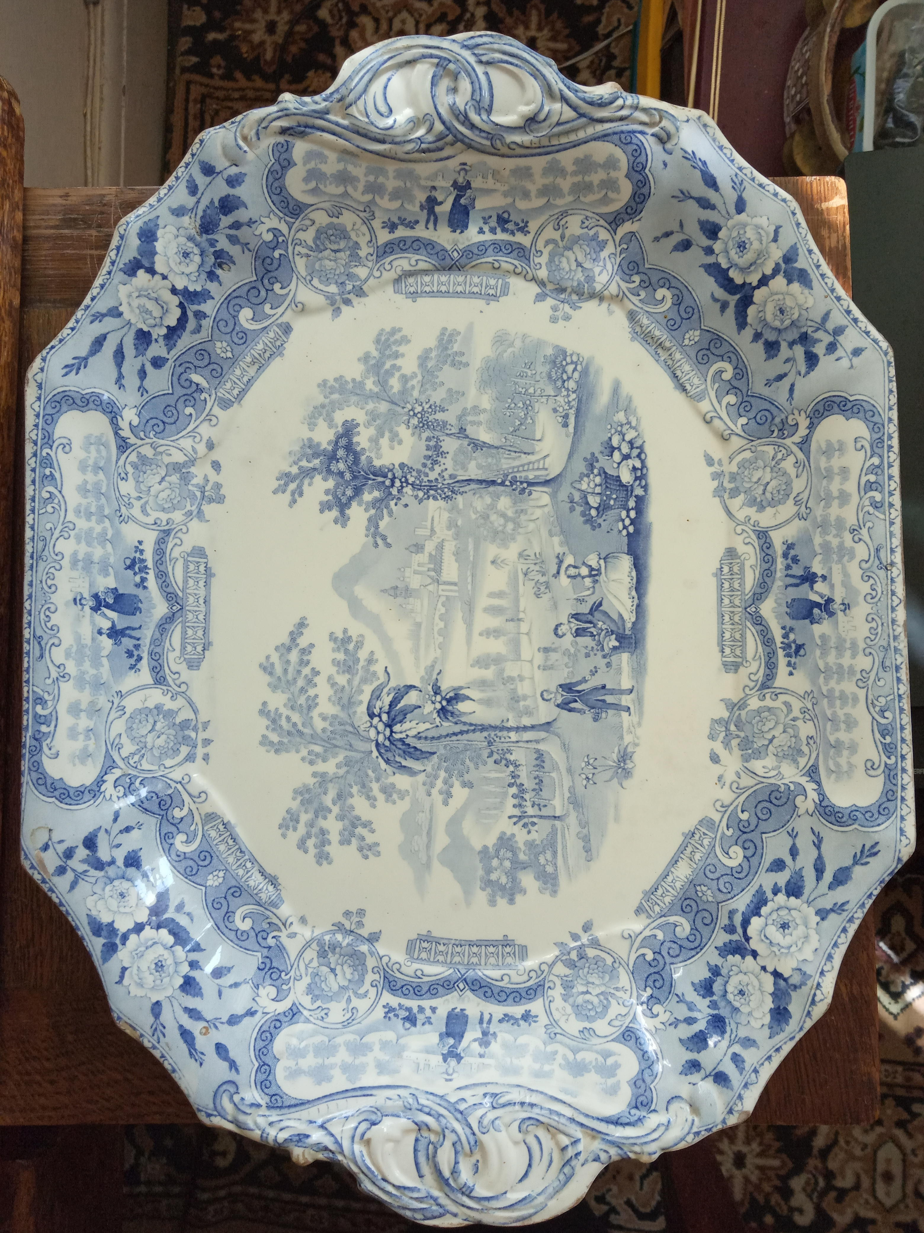 Delightful, vintage, blue and white transfer printed platter