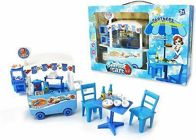 25 Pieces Plastic Mini Seafood Cart Stand Pretend Play Toy