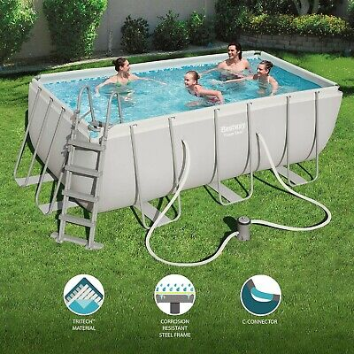Bestway Rectangular Frame Swimming Pool with Filter Pump,