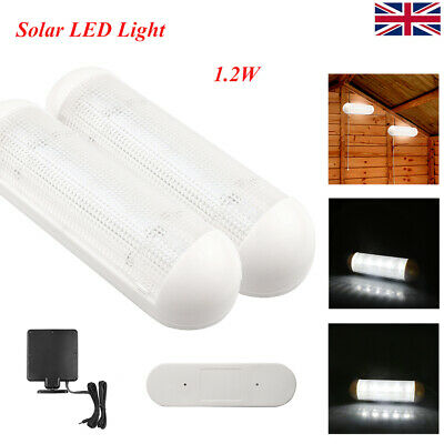 2X 10LED Solar Powered Shed Light Wall Indoor Pull Lamp