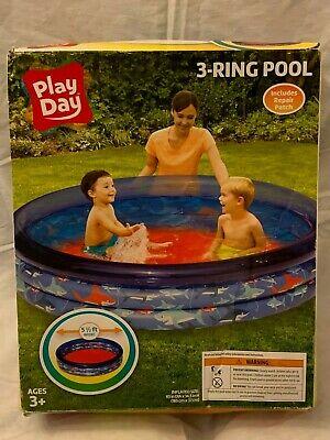 3-Ring Inflatable Ocean Blue Play Kids Toddler Swimming Pool