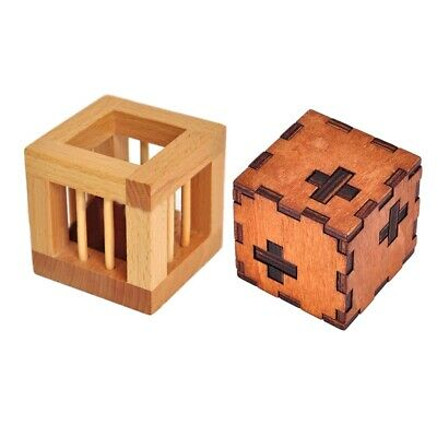 2 Pcs Wooden Intelligence Toy Chinese Brain Teaser Game 3D