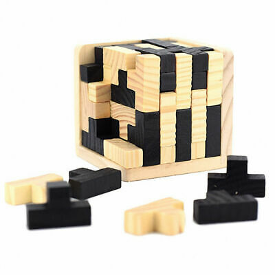 3D Wooden Brain Teaser Puzzle Genius Skills Builder T-Shape