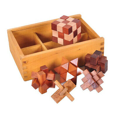 6PCS/Set Wooden Puzzle IQ Brain Teaser Burr Interlocking