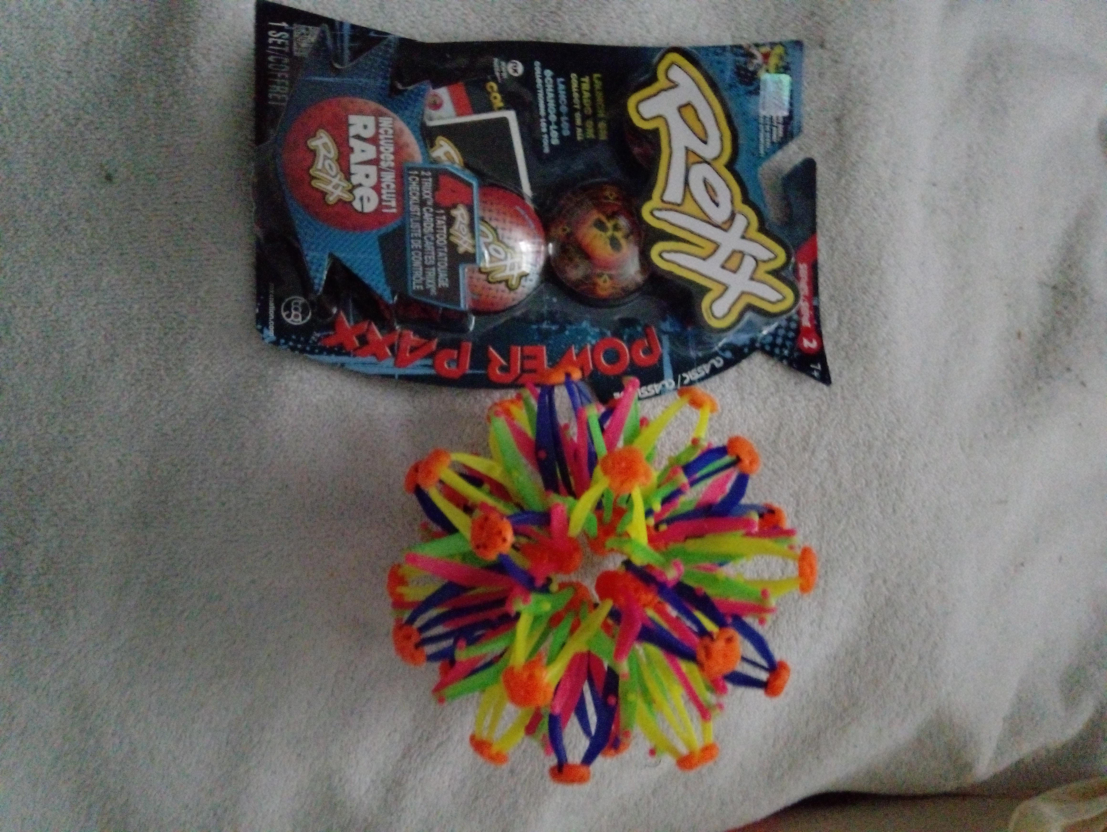 Coloured ball and roxx toy