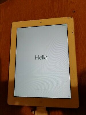 Apple iPad 2 16GB, Wi-Fi, 9.7in - White, Working but cracked