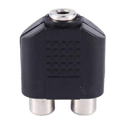 3.5mm Female Socket to Dual Female RCA Jack AV Adapter