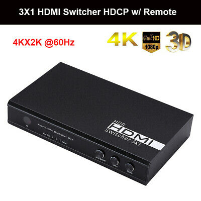 3 in 1 out HDMI Video Audio Switch Switcher HDCPP