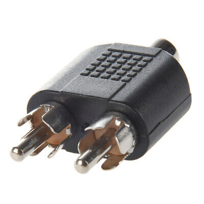 Dual RCA Male Plug to 1 x RCA Female Socket Phono AV Adapter