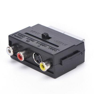 21 Pins SCART Male Plug To 3 RCA Female AV TV Audio Video
