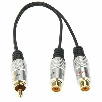 metal RCA Female to Dual 2-RCA Male Gold Plated Adapter,