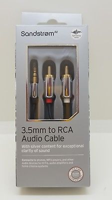 SANDSTROM S35RCAmm to RCA Audio Cable 1.8m Black