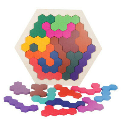 1X(Wooden Puzzle Brain Teaser Toy 16 Color Hexagonal
