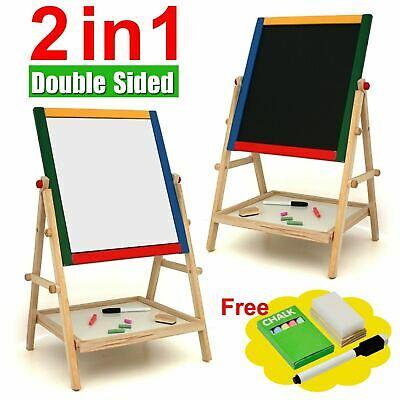 Kids 2 In 1 Black / White Wooden Easel Chalk Drawing Board