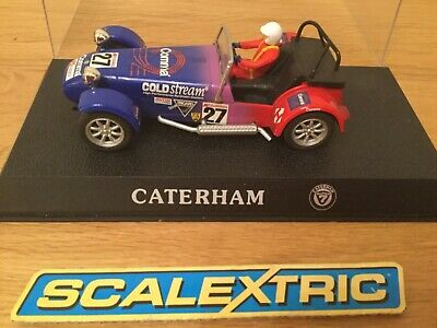 "SCALEXTRIC CATERHAM 7 ""COMMA"" No27 RED/BLUE - BOXED -"