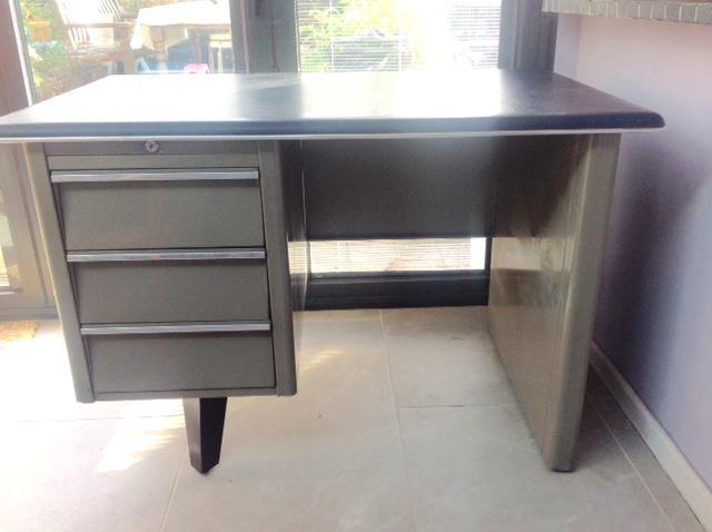 French retro stylish steel office desk