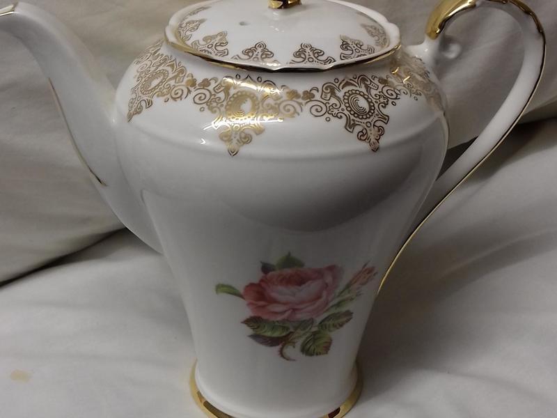 AYNSLEY FINE BONE CHINA COFFEE SET, PINK ROSE PATTERN,