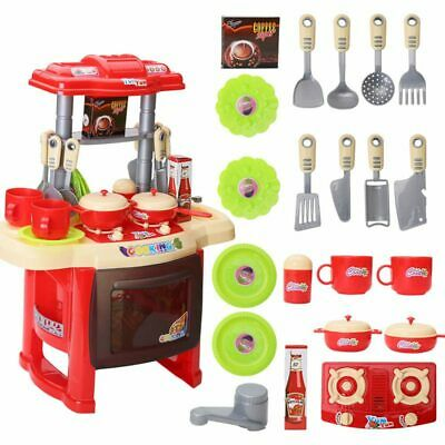 Children Kids Cooking Pretend Role Play Toy Cooker Set Light