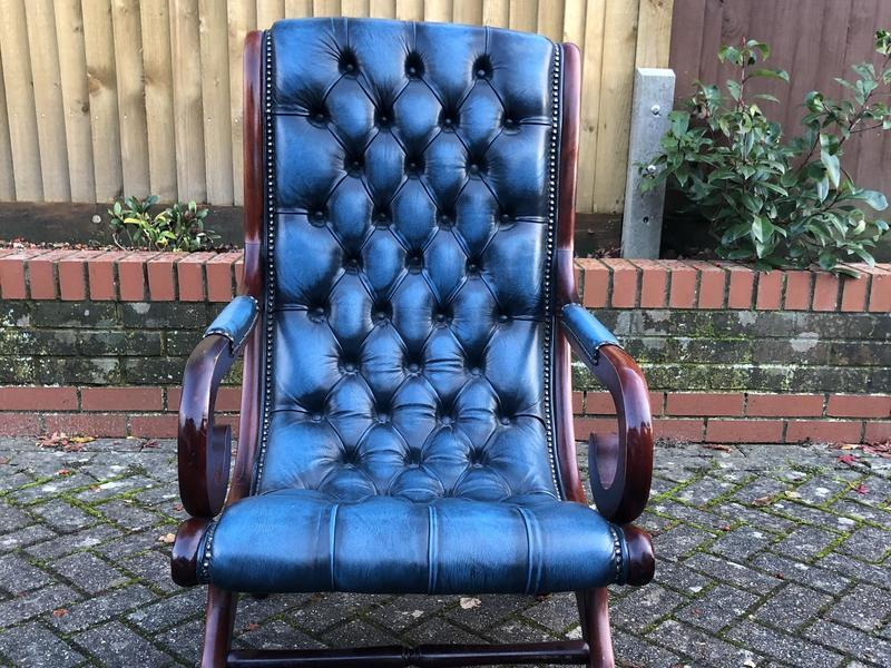 Leather Chesterfield Slipper Arm Chair