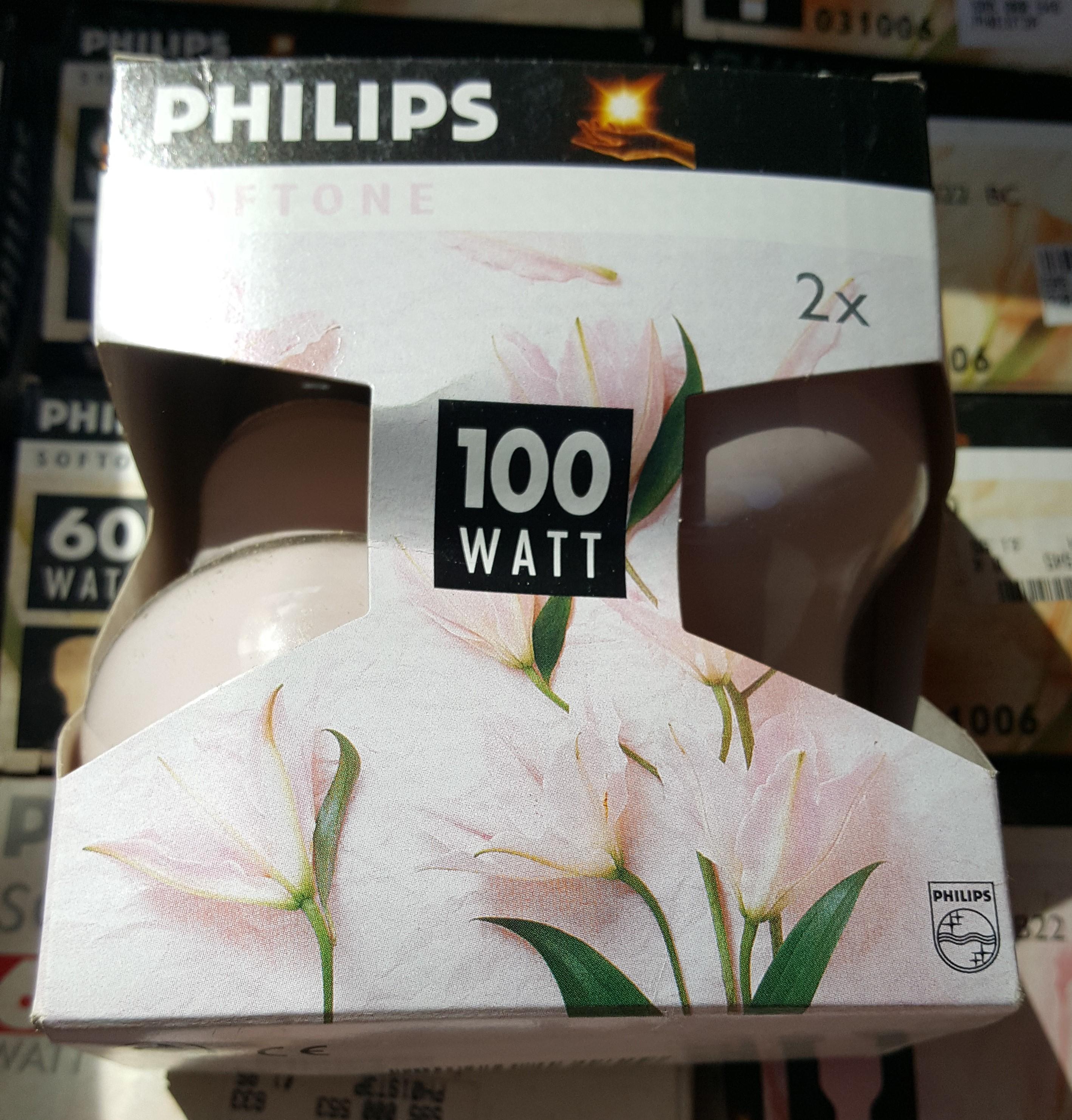 6 X 100 WATT Softone Light Bulbs BC / B22 CAP BY Philips