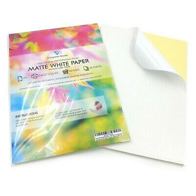 30 x A4 Self Adhesive Matte Sheets - Matt White Finish