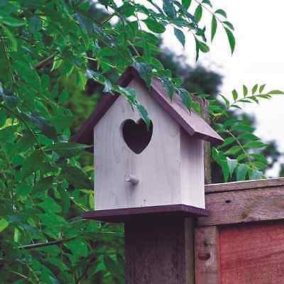 2 x Wooden Love Heart Hart Nesting Box Bird House For Small