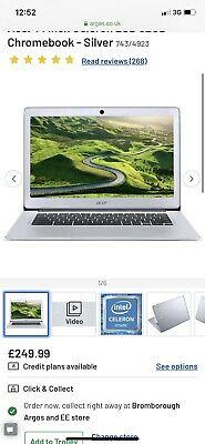 Acer Chromebook 14 Inch HD Display Silver Laptop Intel Atom
