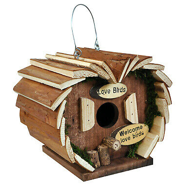Natures Market Wooden Wood Small Love Bird House Hotel