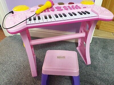 CHAD VALLEY PINK SING ALONG KEYBOARD STAND AND STOOL. PINK